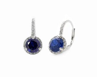 14k White Gold Blue Sapphire Corundum Gemstone Leverback Earrings with Diamond Halo