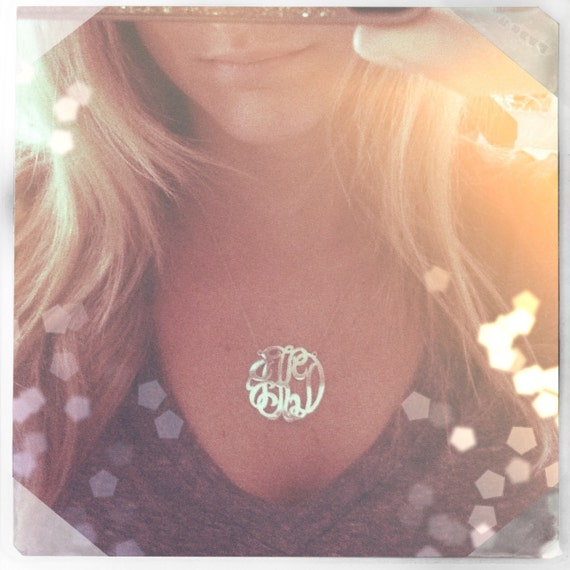 Large Sterling Silver Monogram Necklace (with or without gold plating)