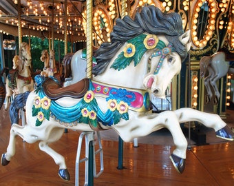 8 x 10 Galloping Carousel Horse - Original Photography Print, Wall Decor