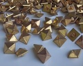 300 Vintage Gold Spike Pyramid Buttons. Punk Rocker style.