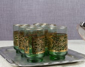 Culver Style Green and Gold Overlay Barware