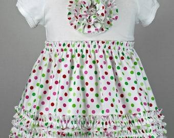Christmas T-shirt dress ruffles rosette toddler pattern pdf baby girl RUFFLED ROSETTE