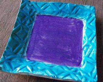 Handmade Ceramic Pottery Vibrant Purple Blue Trinket Dish