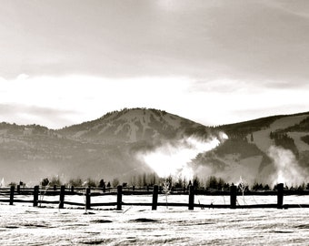 Travel Photography - Readying the Slopes in Black and White - Winter, Nature, Skiing, Snow, Resort, Park City, Utah, Landscape Photography