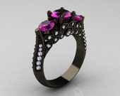 14K Black Gold Three Stone Diamond Amethyst Solitaire Ring R200-14KBGDAM