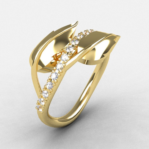 14K Yellow Gold Cubic Zirconia Leaf And Vine Wedding Ring