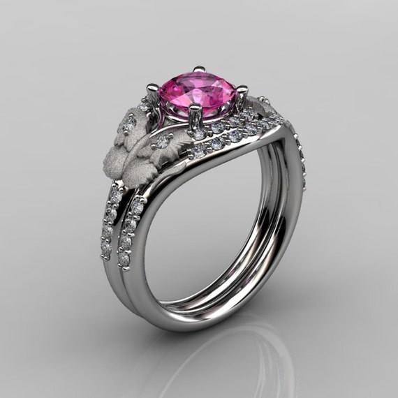 14KT White Gold Diamond Leaf and Vine Pink Sapphire Wedding Ring,Engagement Ring NN117SS-14KWGDPS Nature Inspired Jewelry