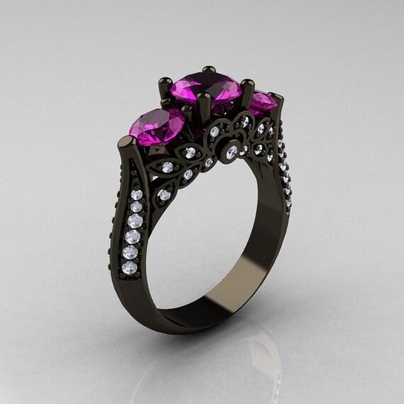 14K Black Gold Three Stone Diamond Amethyst Solitaire Ring R200-14KBGDAM