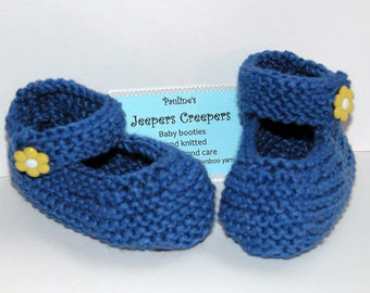 Mary Jane Hand Knitted Baby Booties