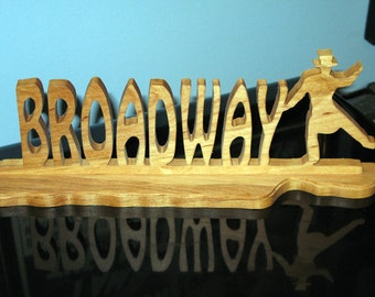 Broadway Wood Hand Cut Desktop Sign