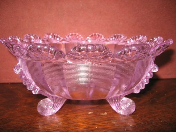 Pink Fluted Carnival Glass Bowl Mint Condition