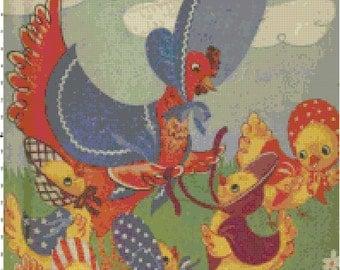 Mother Hen & 5 Baby Chicks Retro Golden Book Cross-Stitch Pattern