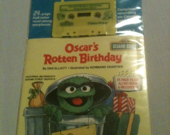 """Fisher Price Sesame Street Tape and Book """"Oscar's Rotten Birthday"""" new"""