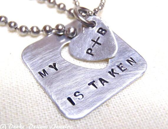 Boyfriend Girlfriend Necklace Set... Couple Necklace Set ... Taken Heart... Long Distance Love... Interlocking Heart Set for Couples