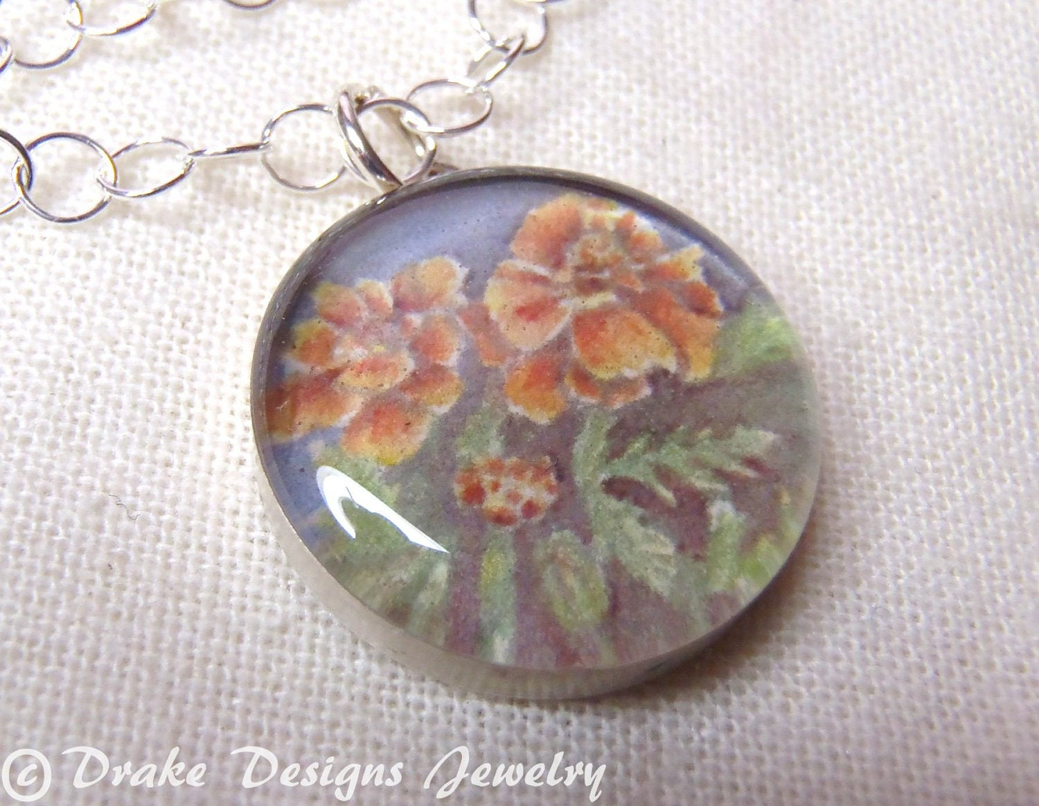 Birth Month Flower Necklace October Sterling Silver