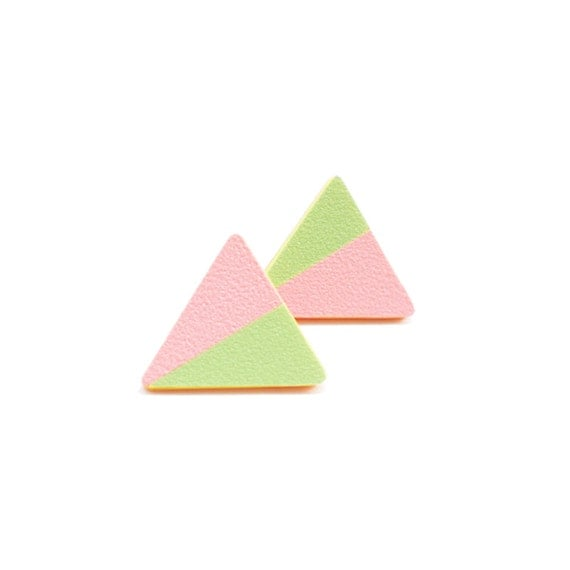 Geometric Triangle Earrings - Baby pink, Pastel color - Asymmetry - Spring fashion-One of a kind