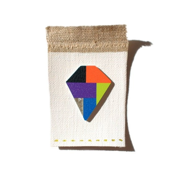 Geometric brooch-multicolor-handcut-one of a kind