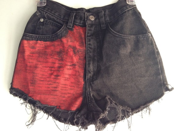 Hot & The Gang Red and Black High Waisted Distressed Denim Shorts Size 3