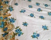 Vintage Tablecloth with Blue Flowers and Brown Kitchenware