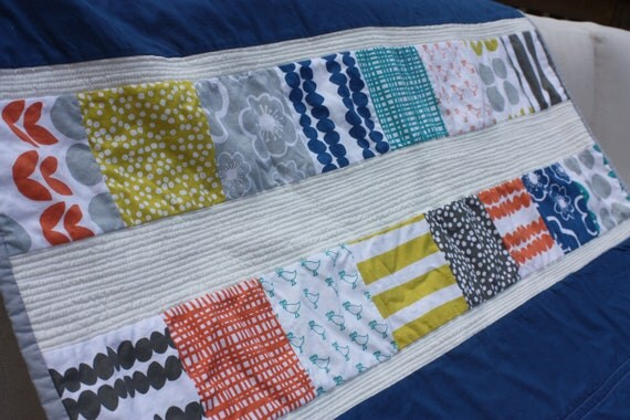 """Modern Baby Quilt in Blue and Citron, 34"""" x 50"""" with hand-stitched binding"""