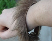 Kangaroo Leather Cuff Bracelet With Real Fur  FREE SHIPPING
