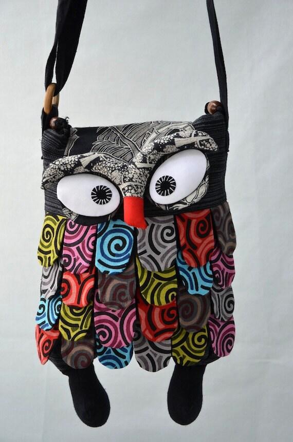 Large - Black Thai Unique Hip Bag Handmade Owl Patchwork Crossbody Bag Messenger DE201