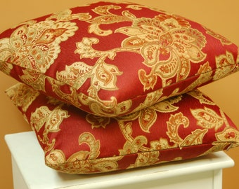 Red Floral 16 inch Jacquard Throw Pillow Covers, 2 Piece Set Decorative Sofa Pillows