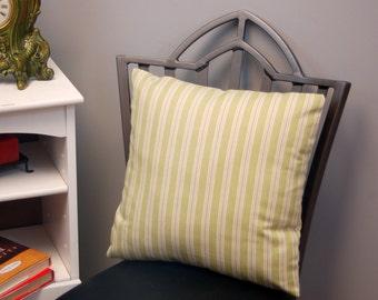 Green Tan Stripe Decorative Throw Cushion Cover 16 Inch, Square Pastel Nursery Pillow, invisible zipper closure