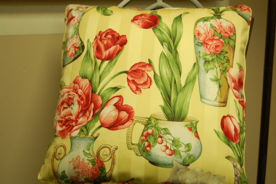 Yellow Floral Decorative Pillow Cover 18 X 18, Corded Sofa Pillow, Red Tulip Accent Pillow, Invisible zipper closure