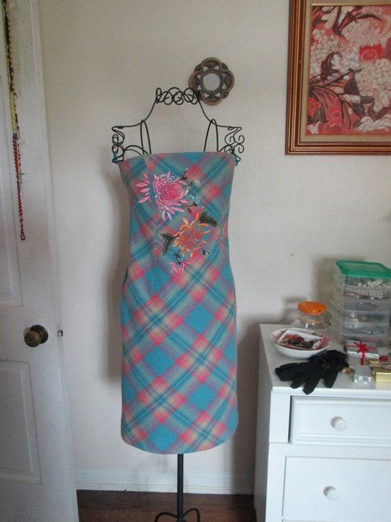 Dress Vintage 1980 B C B G Blue Pink Plaid Strapless Dress