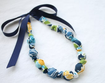 Fabric Statement Necklace, Chomping, Nursing, Teething Necklace -  Floral Blues