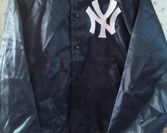 Vtg New York Yankees MLB Starter Style Blue Satin Jacket New