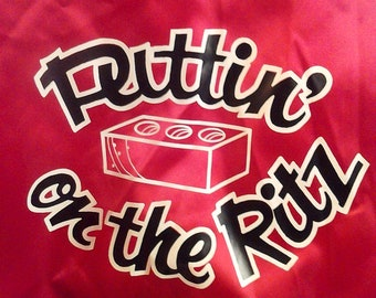 Vtg Puttin on the Ritz Shiny Red Satin Jacket New