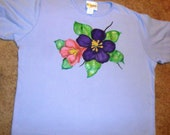 Womens Hand Painted Periwinkle T-shirt, sz XL