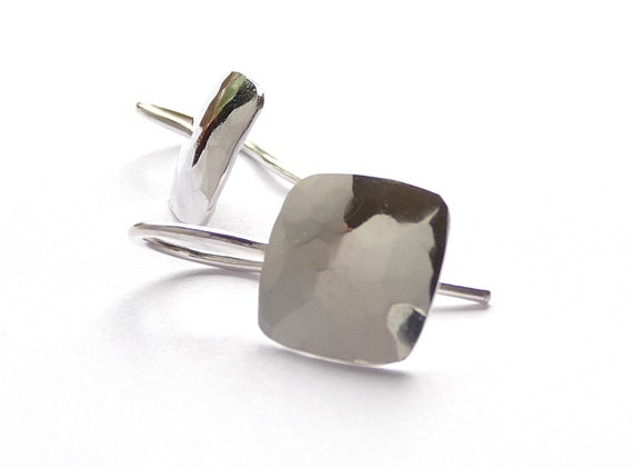 Short Square Drop Earrings with Hammer Texture, Modern Minimalist Design Silver Jewelry, Eco Friendly Forged Sterling Dangles