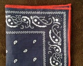 Pocket Square - Navy Bandana with Red Sewn Border, Ltd Edition by MVO - MVOdesigns