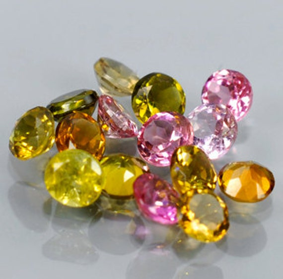 Party Colored Tourmalines Faceted Rounds 1.61 Ct. 3x3 mm Avg, Mozambique Lot of 15