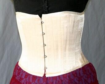 Handmade Cream Satin Steel-Boned Corset size10