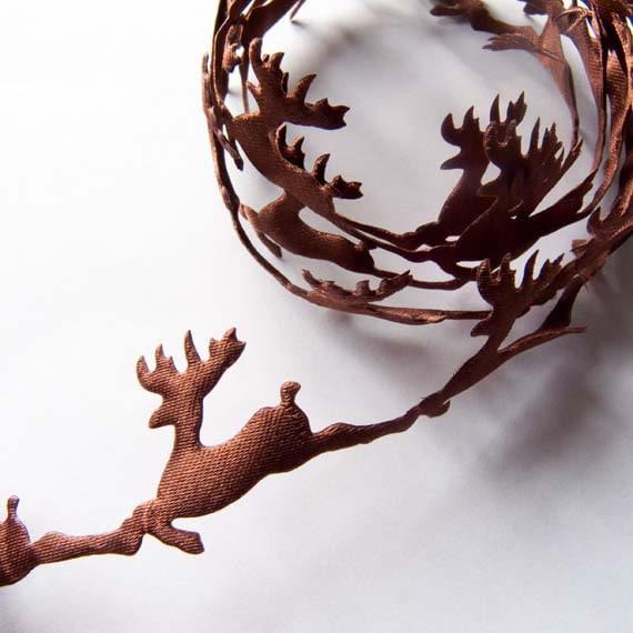 3 x Reindeer Cut Out Christmas Ribbon - 3 metre (3.28 yards)