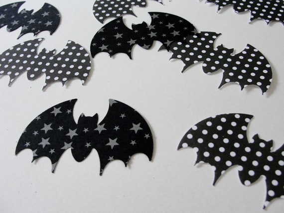 Black and White Bat Halloween Cut Outs, Stars and Polka Dots, Halloween Decoration Tag Embellishment, Set of 20
