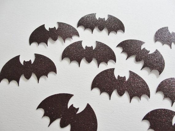 Glitter Maroon Bat Halloween Cut Outs, Halloween Decoration Tag Embellishment, Set of 12