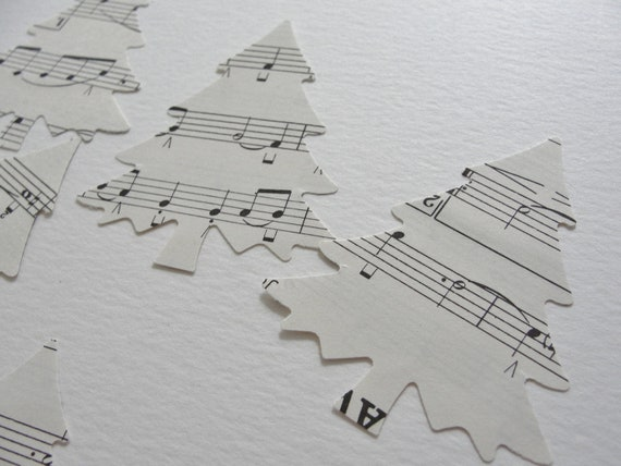 Christmas Tags Holiday Trees Black and White Vintage Sheet Music Paper Cut Outs Die Cuts, Holiday Decorations Tags Decor Set of 20