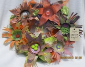 Tin can flower wreath