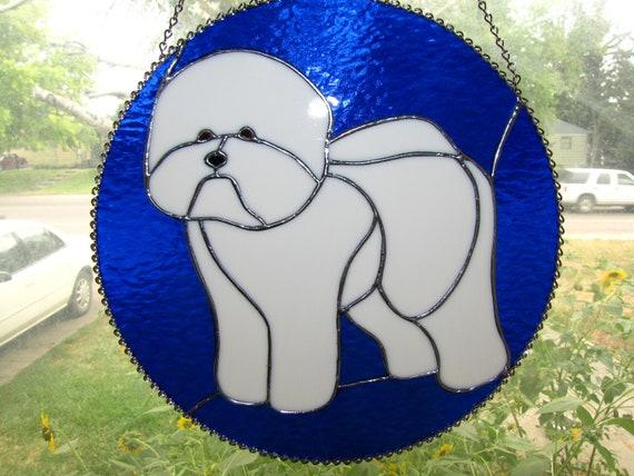 """Stained Glass Bichon Frise 12"""" Circle"""