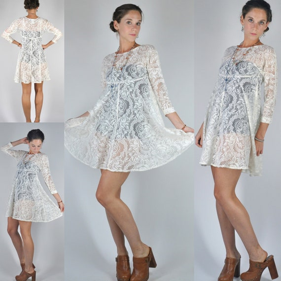 Reserved for Cassandra -- VTG 80s Sheer Ivory White Lace Gypsy Mini Dress Boho Chic Revival Hippie XS/S