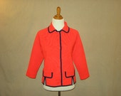 Vintage 1960s Knits by Tally Red Button-Up Sweater Jacket with Navy Blue Trim