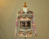 Vintage 1970s Fishing Village Button-Up Shirt