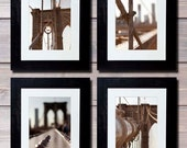 New York Photography set of 4 prints Brooklyn Bridge/large wall art/Gallery wall/New York prints poster/bathroom wall decor/NYC decor