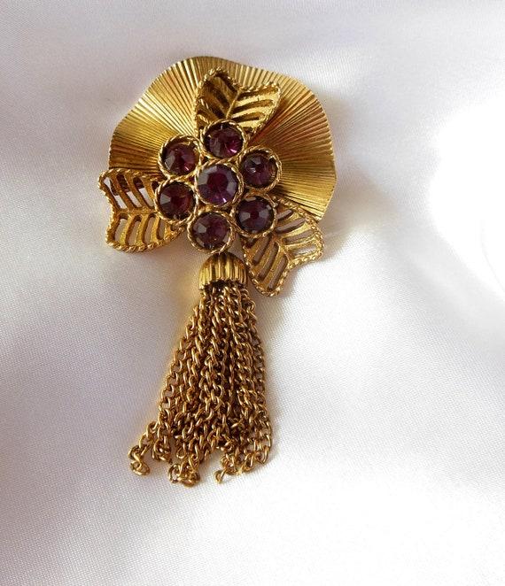 Vintage Tassel Brooch with Purple Rhinestones