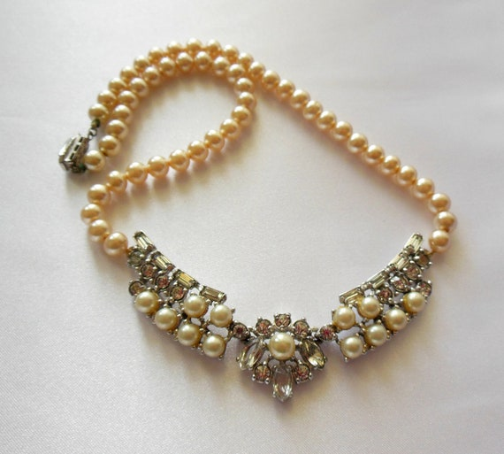Vintage Necklace Rhinestone and Pearl